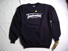 Troublemaker  SS čierna pánska mikina s tlačeným logom 70%bavlna 30%polyester
