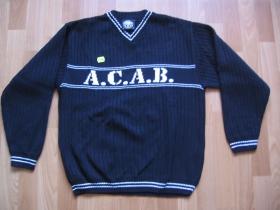 Troublemaker pletený sveter čiernobiely A.C.A.B.  50%bavlna 50%polyakryl