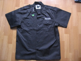 Troublemaker čierna pánska košeľa s vyšívaným logom 35%bavlna 65%poyester