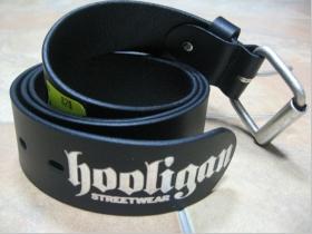Hooligan G-005 - Opasok pravá koža čierny so strieborným logom, posledný kus velkosť 85cm (model sa už nebude vyrábať!!!)