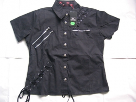 Dámska košeľa Rock čierna s kovovými zipsami 100%bavlna posledný kus veľkosť S