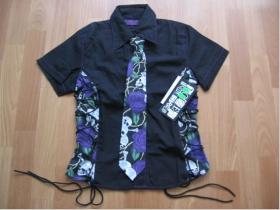 Košeľa Rock s kravatou čierna 100%bavlna, posledný kus veľkosť S