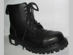 915d2ada405b9 Kožené topánky Steadys 8. dierové čierne s prešívanou oceľovou špičkou
