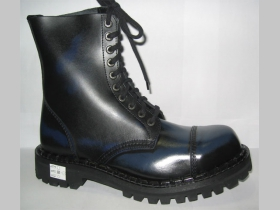 Kožené topánky Steadys 10 dierové modročierne s prešívanou oceľovou špičkou