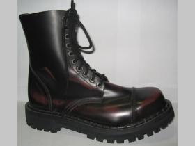 Kožené topánky Steadys 10 dierové glady bordovočierne s prešívanou oceľovkou