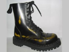 Kožené topánky Steadys 10 dierové žltočierne s prešívanou oceľovou špičkou