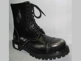 Kožené topánky Steadys 10 dierové bieločierne s prešívanou oceľovou špičkou
