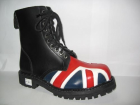 Kožené topánky Steadys 10 dierkové čierne s britskou vlajkou na špičke, prešívané