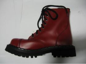 Kožené topánky Steadys 8. dierové červené s prešívanou oceľovou špičkou