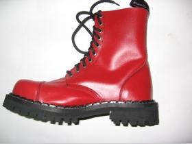 Kožené topánky Steadys 10 dierkové červené s prešívanou oceľovou  špičkou