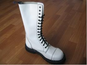 Kožené topánky Steadys  15. dierkové čisto biele s prešívanou oceľovou špičkou