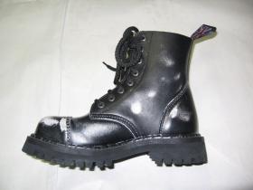 Kožené topánky Steadys 8. dierkové čiernobiele s prešívanou oceľovou špičkou