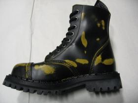 Kožené topánky Steadys 8. dierkové žltočierne s prešívanou oceľovou špičkou