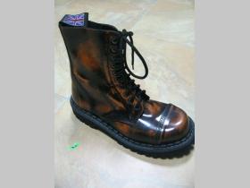 Kožené topánky Steadys 10. dierkové oranžovočierne s prešívanou oceľovou špičkou