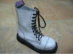 Kožené topánky Steadys 10. dierkové čisto biele s prešívanou oceľovou špičkou