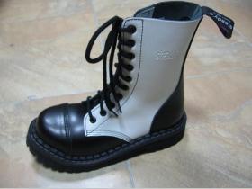 Kožené topánky Steadys  10. dierkové čiernobiele s prešívanou oceľovou špičkou
