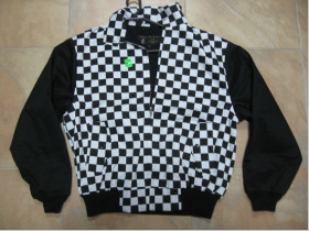 """Harrington, čiernobiela šachovnicová bunda bez loga s čiernou podšívkou, """"jar/jeseň"""
