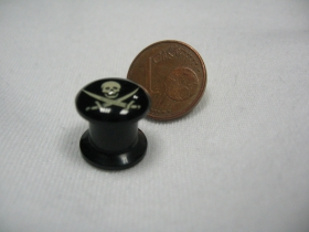 Pirátska lebka, čierny plastový tunel s vnútorným priemerom  8mm cena za 1ks!!!