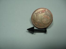 čierny piercing do brady, celková dĺžka 14mm, hrúbka tyčky 1,5mm, dĺžka samotného ostňa 5mm, priemer ostňa 4mm