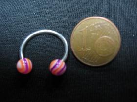 """Piercing """"čerešňa"""" s akrylovými guličkami, celkový priemer 18mm, hrúbka tyčky 1mm"""