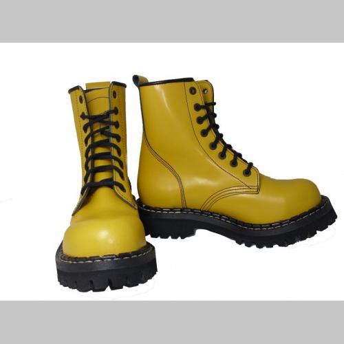 80300fe1bf69a Kožené topánky Steadys, žlté 8.dierkové s prešívanou oceľovou špičkou
