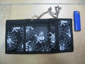 smrtky s pavučinou  čierna pevná textilná peňaženka s retiazkou a karabínkou