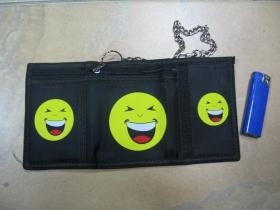 smile čierna pevná textilná peňaženka s retiazkou a karabínkou