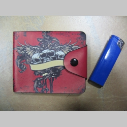 smrtky - skulls peňaženka so zapínaním na cvok, materiál: syntetická koža