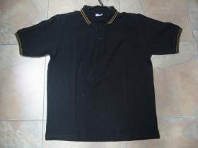 Old School čistá čierna polokošela s tmavo žltým  lemovaním na límcoch a rukávoch 60%bavlna 40%polyester