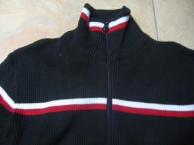 OLD SCHOOL dámsky sveter čierny s bieločerveným pruhom materiál 100% bavlna  veľkosť 38 (S/M)