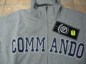 Commando Industries  šedá pánska mikina s pevným kovovým zipsom a vyšívaným logom, materiál 60%bavlna 40% polyester