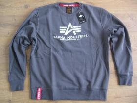 Alpha Industries tmavošedá mikina bez kapucne s tlačeným logom 80%bavlna 20%polyester