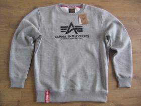 Alpha Industries svetlošedá mikina bez kapucne s tlačeným logom 80%bavlna 20%polyester
