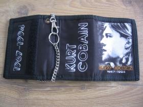 Kurt Cobain Nirvana - hrubá pevná textilná peňaženka s retiazkou a karabínkou