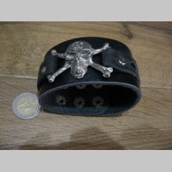čierny kožený náramok so zapínaním na cvok s kovovou nadstavbou LEBKA - SMRTKA