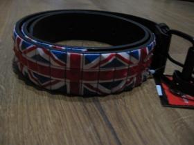 UNION JACK - Britská vlajka,  opasok vybíjaný farebnými kovovými pyramídkami, 3. radový nastaviteľná veľkosť, imitácia kože