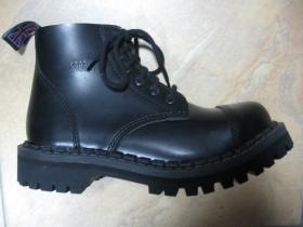 Kožené topánky STEADYS 6.dierkové, čierne s prešívanou oceľovou špičkou (v ponuke sú aj všetky farebné prevedenia ako napríklad u 10.dierkových)