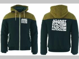 Against Racism Fascism Nationalism zimná pánska bunda zateplená čierno-olivová s kapucňou