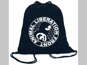 Animal Liberation Front  ľahké sťahovacie vrecko ( batôžtek / vak ) s čiernou šnúrkou, 100% bavlna 100 g/m2, rozmery cca. 37 x 41 cm