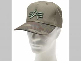 Alpha Industries olivovo zelená šiltovka s s vyšívaným logom a maskáčovým šiltom 100%bavlna nastavitelná veľkosť s klasickým plastovým zapínaním vzadu
