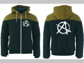 Anarchy zimná pánska bunda zateplená čierno-olivová s kapucňou