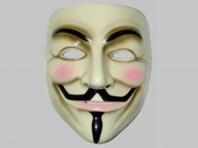 Anonymous, plastová maska v zadu s gumičkou na uchytenie