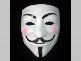 Anonymous, biela plastová maska v zadu s gumičkou na uchytenie
