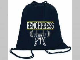 Bench Press ľahké sťahovacie vrecko ( batôžtek / vak ) s čiernou šnúrkou, 100% bavlna 100 g/m2, rozmery cca. 37 x 41 cm