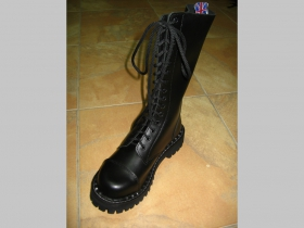 Kožené topánky Steadys 15.dierkové s prešívanou oceľovou špičkou čierne