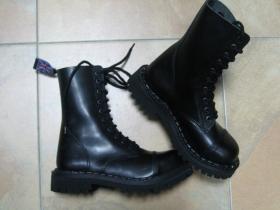 Steadys, Obuv, Kožené topánky  10 dierové čierne s prešívanou oceľovou špičkou