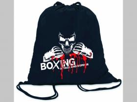 Boxing - Attack and Defense ľahké sťahovacie vrecko ( batôžtek / vak ) s čiernou šnúrkou, 100% bavlna 100 g/m2, rozmery cca. 37 x 41 cm