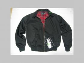 """Harrington, čierna bunda bez loga s podšívkou červené káro TARTAN """"jar/jeseň"""