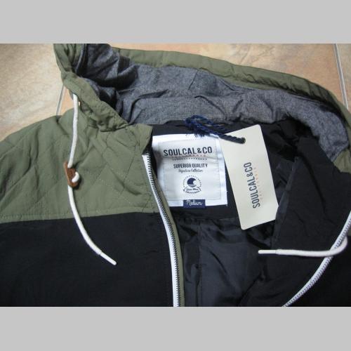 a0e2818389c7 Slovakia zimná pánska bunda zateplená čierno-olivová s kapucňou ...