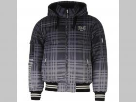 b4d152d92dd9 Everlast zimná bunda šedé káro s kapucou a zipsovými vreckami po bokoch s  nápisom ...